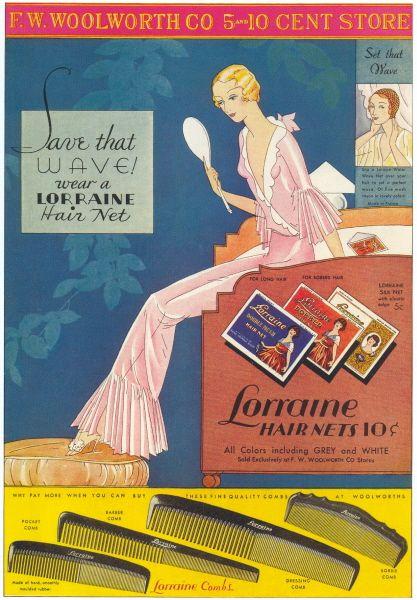 Save that wave! Lorraine Hair Nets ad, 1932.