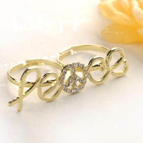 Double-ring Letter Ring  Gold - One Size