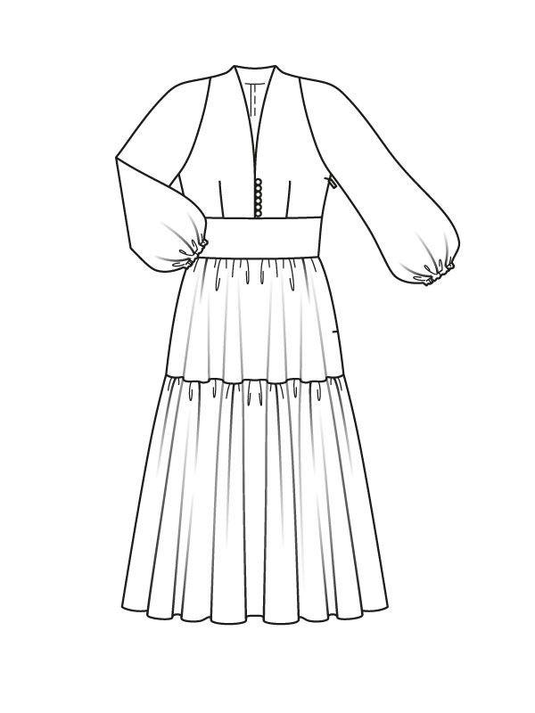 Dopasowanej sukni sylwetka - numer wzorca 111 Magazine 7/2015 Burda - wzory na sukienki Burdastyle.ru