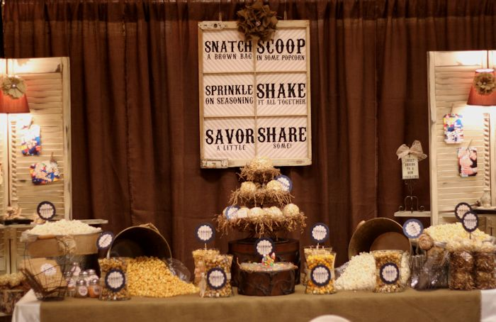 Popcorn Party! How fun!Wedding Inspiration, Dessert Tables, Popcorn Ball, Engagement Parties, S'Mores Bar, Popcorn Parties, Bridal Shower, Popcorn Bar, Desserts Tables