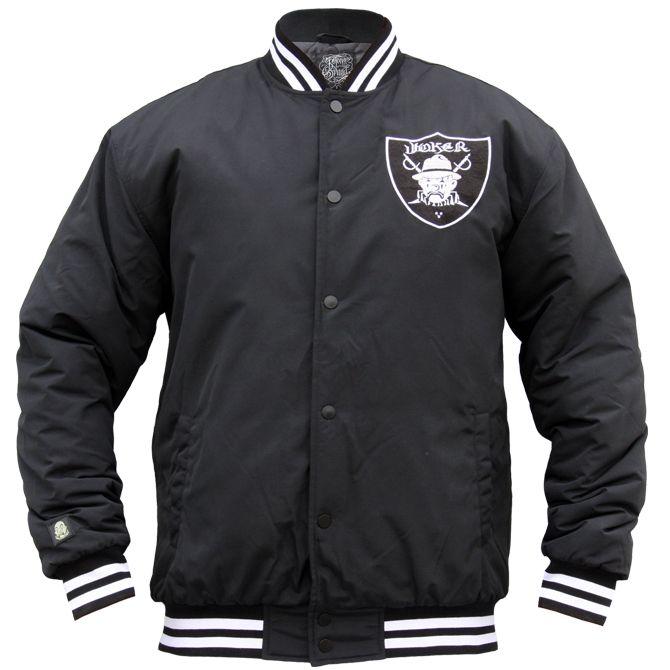 Bei Joker Brand haben wir diese Baseball Jacke im Oldschool Los Angeles Raiders-Style gesehen.