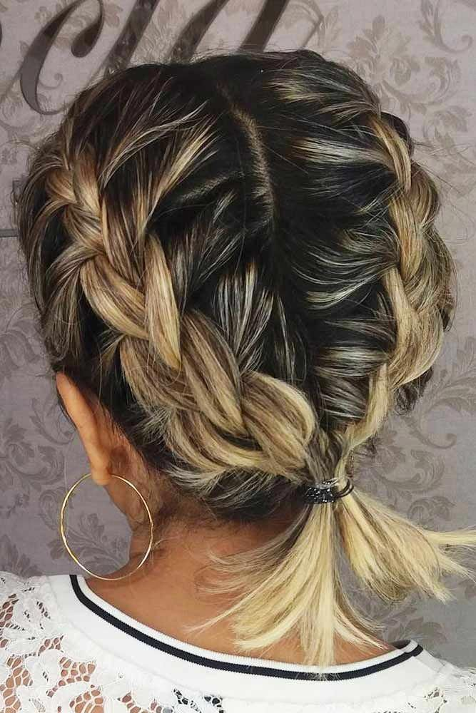 Ideas Of Braids For Short To Medium Hair Two Braids Into Ponytail Braidedhairstyles Shorthair Hairstyles Hair Styles Short Hair Styles Braids For Short Hair