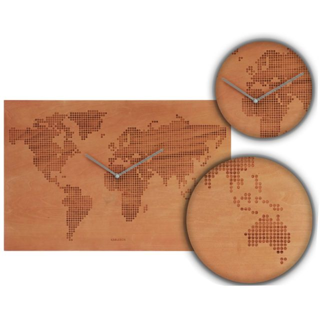 KARLSSON WALL CLOCK DECOR DESIGN HOME ART MODERN STYLE WORLD MAP WOOD FINISH | eBay