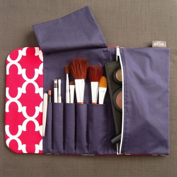Beauty Gift For Traveler Makeup Organizer Cosmetic Brush Roll Bag Pink Holder Travel Accessories Organize