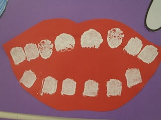 Dental Health Craft; children sponge paint the number of teeth they have