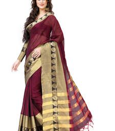 Buy Maroon and Golden Plain cotton saree with blouse south-indian-saree online