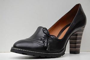 Clarks Ladies Smart Court Shoes Adina Kaftan Black Lea <3
