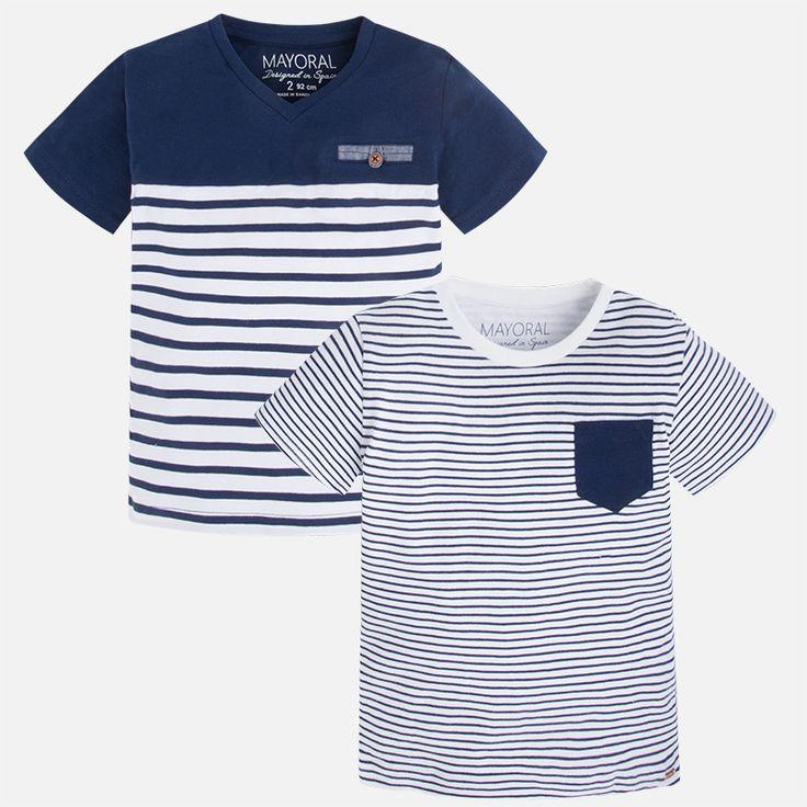 Koszulki w paski dla chłopca z krótkim rękawem Niebieski