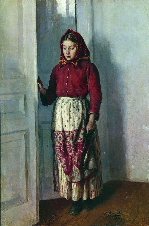 "Russian costume in painting. ""A Peasant Girl"" by Nikolai Yaroshenko, 1891. #art"