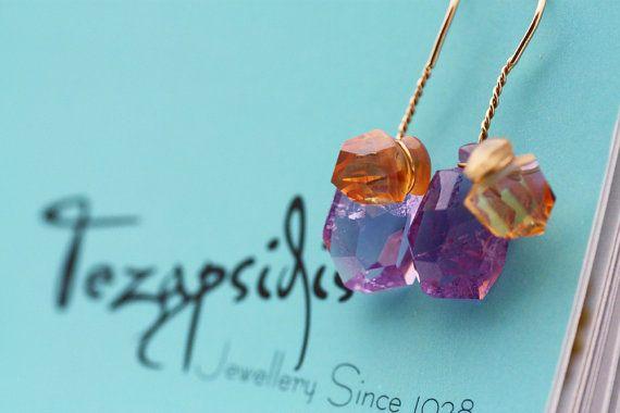 Amethyst and Citrine earrings /Gold K18 earrings by PetrosJewels