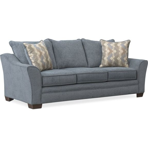 Trevor Queen Memory Foam Sleeper Sofa Blue Value City Furniture And Mattresses