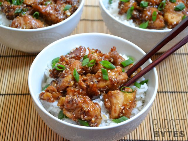 This was our dinner last night....excellent!!!  Easy Sesame Chicken - Budget Bytes