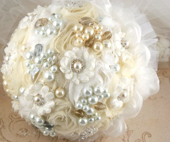 Brooch Bouquet Pearl Jeweled Bouquet in White and by SolBijou, $300.00