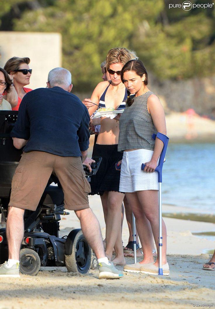 """Exclusif - Sam Claflin et Emilia Clarke sur le tournage du film """"Me before you"""" à Palma de Majorque le 12 juin 2015"""