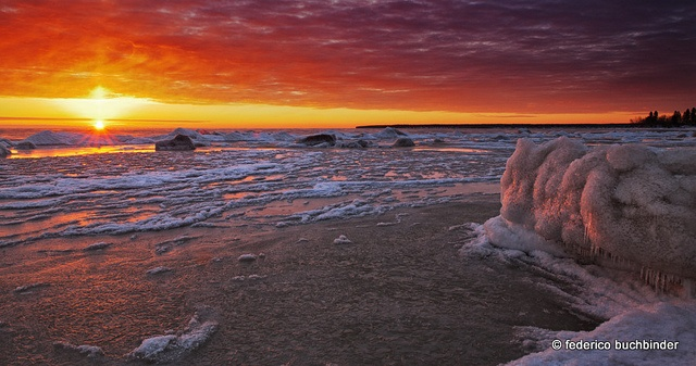 Winter is heating up by / shadows and light, via Flickr. Victoria Beach, Manitoba, Canada.