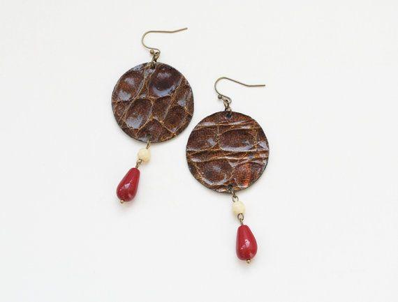 Boho earrings leather earrings geometric earrings by elfinadesign