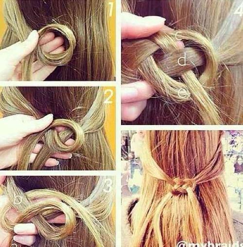 Loop-knot hairstyle.