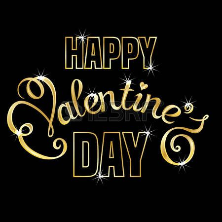 Happy Valentines Day text message on black background. Hand drawn lettering. Valentines day card template Vector