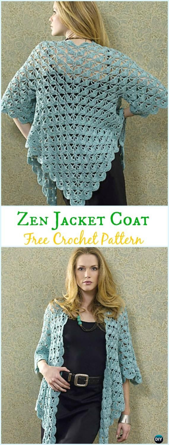 Crochet Zen Jacket Cardigan Free Pattern - Crochet Women Sweater Coat & Cardigan