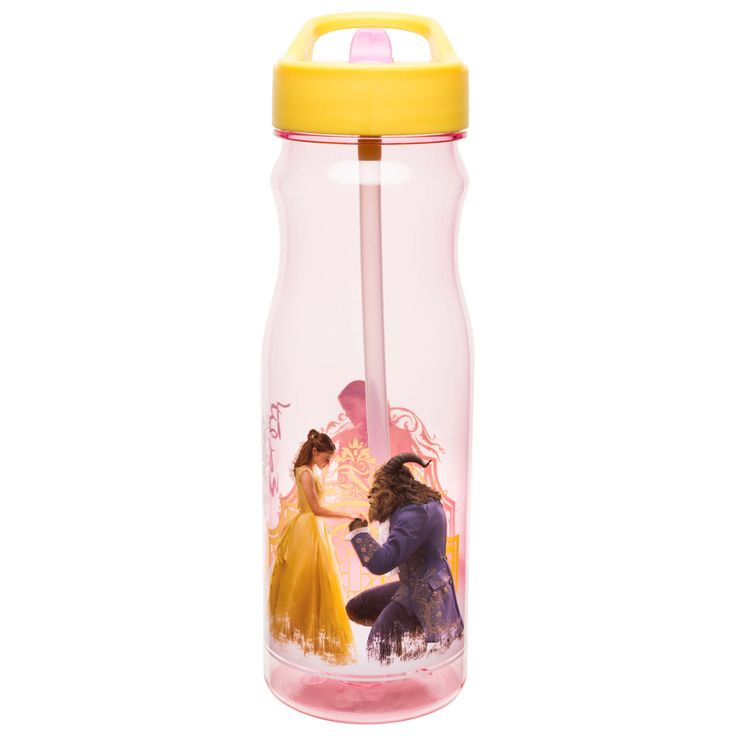 Zak Designs Beauty and the Beast Large Water Bottle with Straw