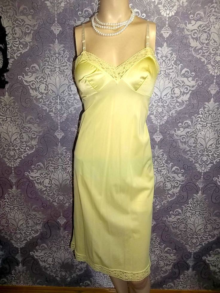Vintage Full Slip Silky Nylon YELLOW Satin VANITY FAIR Pinup 1980s Lingerie 34   Clothing, Shoes & Accessories, Vintage, Women's Vintage Clothing   eBay!