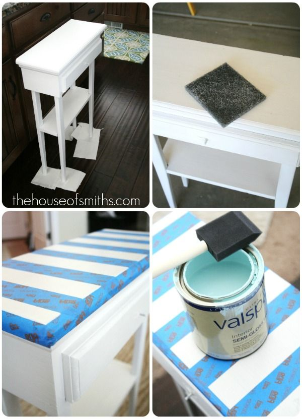 Aqua Striped Table - Scotch Blue Painting Party