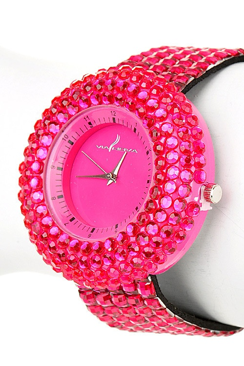 Oh When You Want To Have Fun Wear This Cutie Out...Hot Pink Rhinestone Watch <3<3: Pink Rhinestones, Things Pink, Pink Sparkle, Pink Colors, Pink Things, Pink Pink, Hot Pink, Rhinestones Watches, Pink Watches
