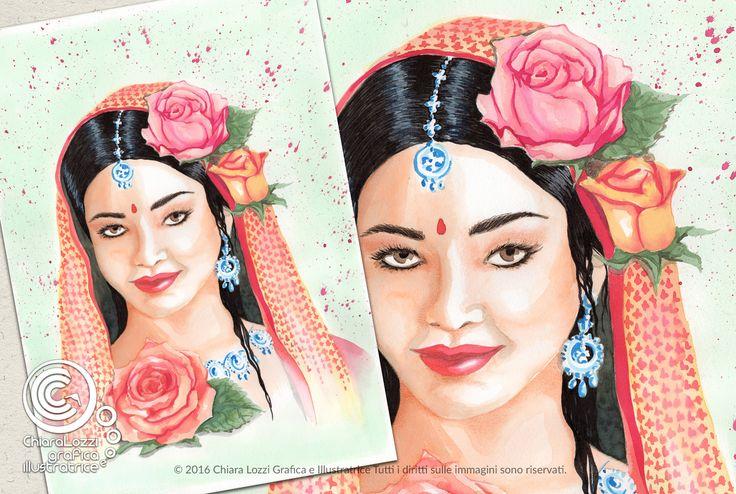 Mesi Illustrati: Maggio #visodidonna #ritratto #illustrazione #bellezza #fiori #frutti #foglie #mesidellanno