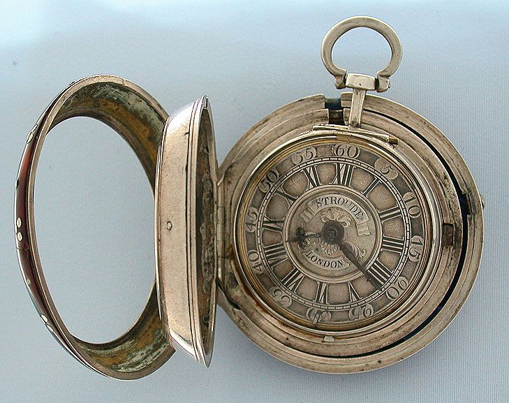 Fine English tortoise shell and silver triple case verge and fusee antique pocket watch by Stroude, London, circa 1750.