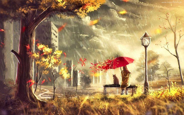 Grafika, Jesień, Deszcz, Drzewo, Domy, Człowiek, Kot, Ławka, Parasol
