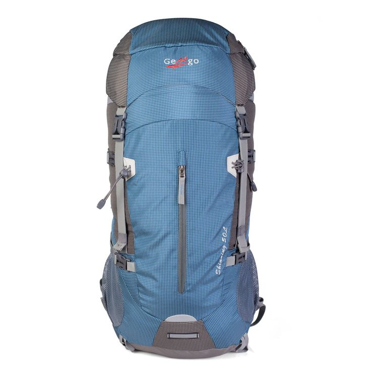 Gemgo Mountaintop MB06 50L-60L Backpack (Blue). Lightweight & waterproof fabrics, high quality YNS buckles, SBS top zipper. Adjustable, well padded shoulder straps to reduce pressure on the shoulder. Thick mesh lumbar pad for comfort and airflow against your back. Compact internal frame backpack with capacity of 50 liters(extended to 60L). Weighs only 3.6 pounds. Dimension (cm): 70*25*32.