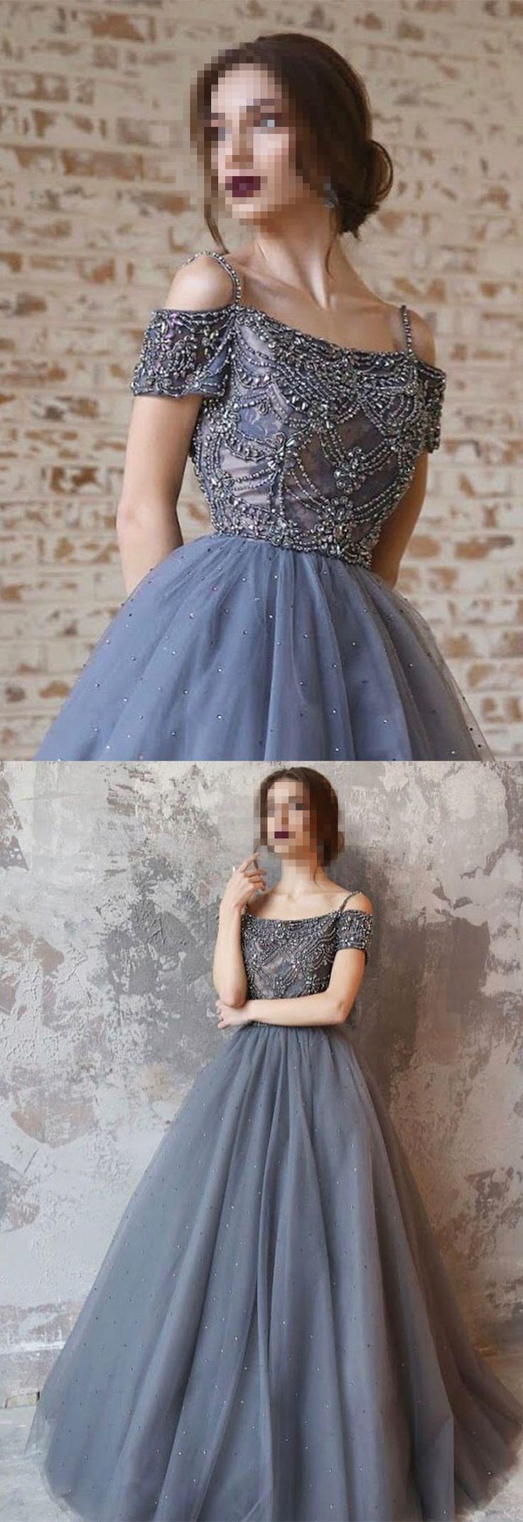 2018 Prom Dress, Long Prom Dress, Grey Prom Dress, Formal Evening Dress, Graduation Dress