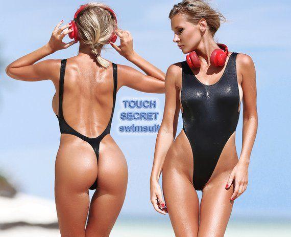 ee09232f88 One Piece Swimsuit Bodysuit Monokini Swimwear Hot Sport Black Thong High Cut  Leg Open Back Bathing S