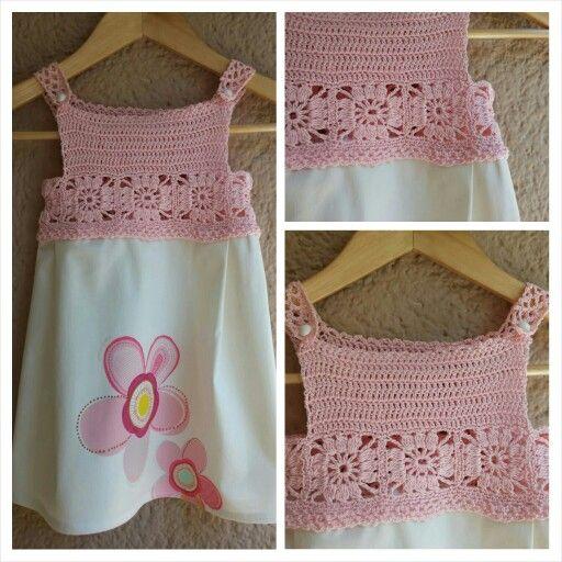Pink crochet girl dress