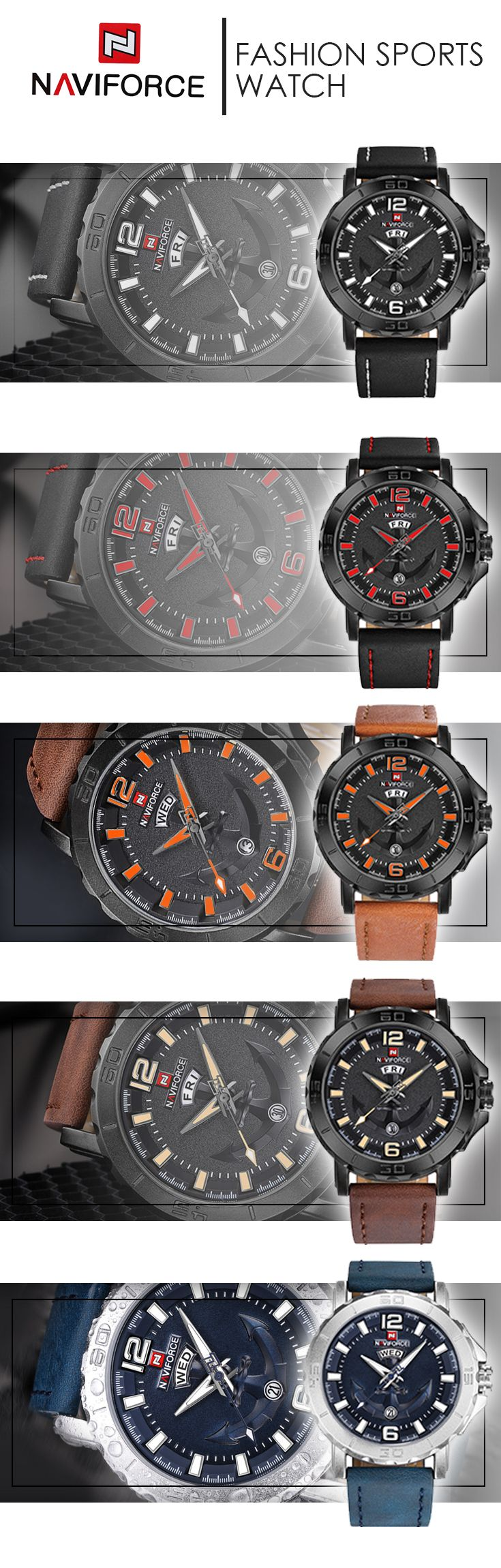 Men's Leather Strap 2018 military watches - Naviforce sport luxury watch - Mens style fashion brand affordable accessories #menswatches #menaccessories