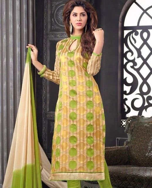 Charming Look Banarasi jacquard Designer Suit with Duppata Order @ Whats App 87-1672-7326