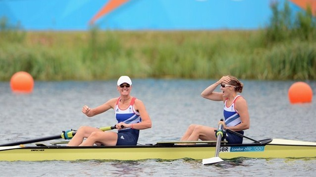 Heather Stanning and Helen Glover celebrate after winning gold in the women's Pair final at Eton Dorney.