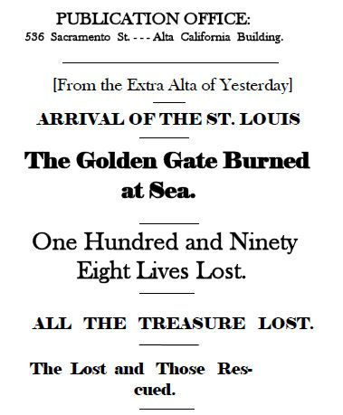 SS Golden Gate 1862-Portada del Daily Alta California, 7 de agosto de 1862