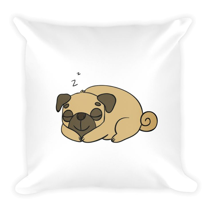 Sleeping Pug Square Pillow
