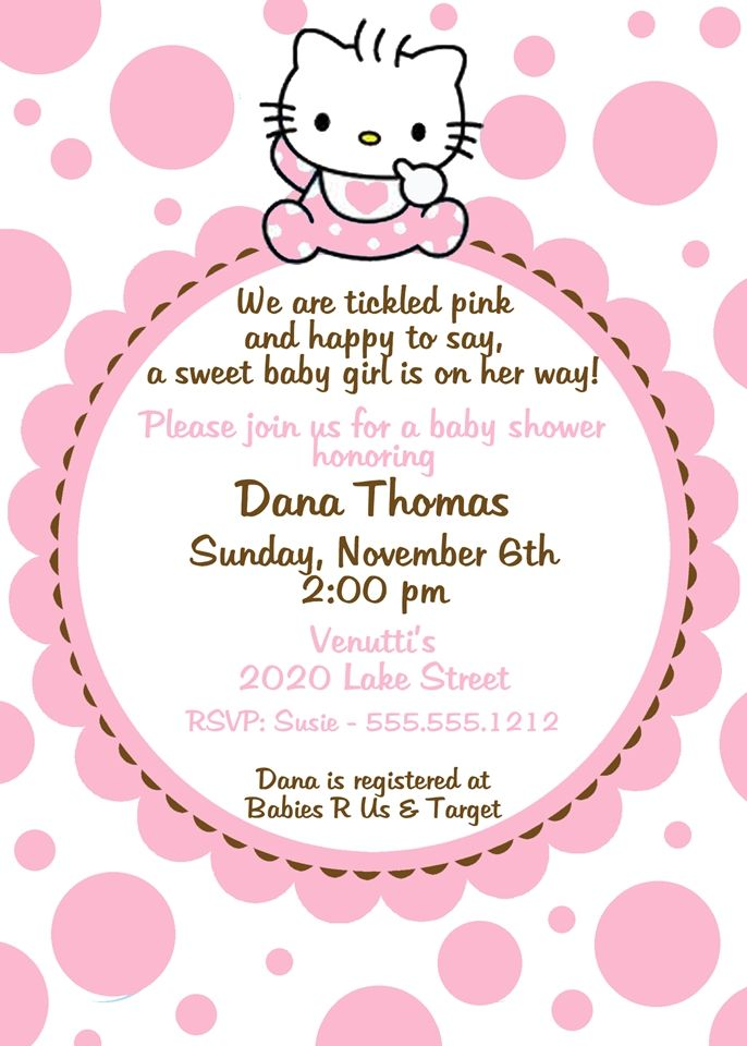 hello kitty baby shower | Hello Kitty Baby Shower Invitation, Pink