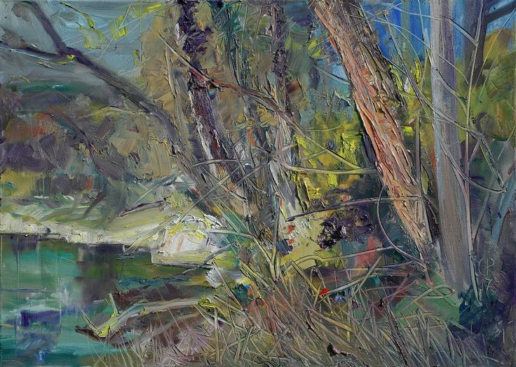 Trees at a River, oil on canvas