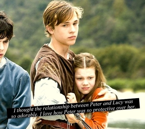 I loved all the relationships! I loved how Peter protected everyone and how Lucy was the conscious of the family and how Susan manged to keep things down to earth and how (later) Edmund brought humility and an understanding of the enemy to the group. The Pevencies rock!!!