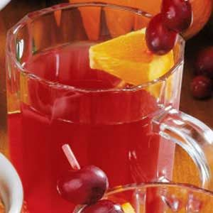 """Cranberry Brunch Punch Recipe -""""For a festive party punch, you can't miss with this refreshing beverage,"""" assures Edie deSpain of Logan, Utah. It's excellent whether poured over crushed ice or served warm."""""""