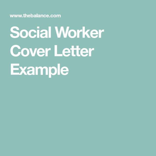 Social Worker Cover Letter Example