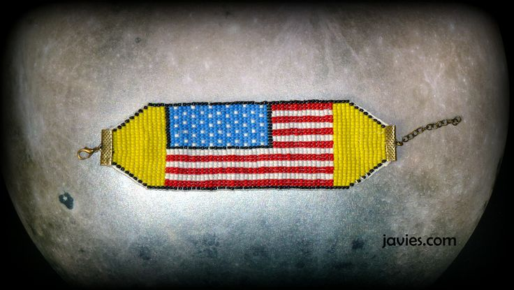 Pulsera bandera Estados Unidos / USA sead beads bracelet