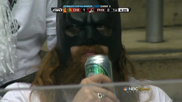 Bearded Batman at the NHL hockey playoffs