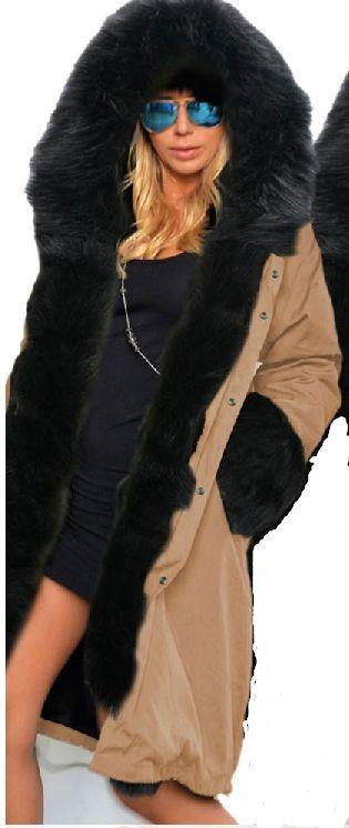 Zipper Hooded Faux Fur Cuff Long Cotton Coat