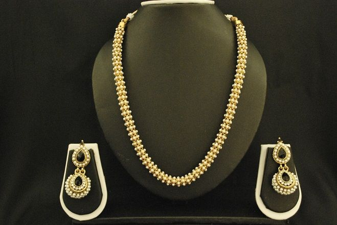 Necklace Set Studded with Small Pearls & Long Dangling Pearl Earrings with Black Stone