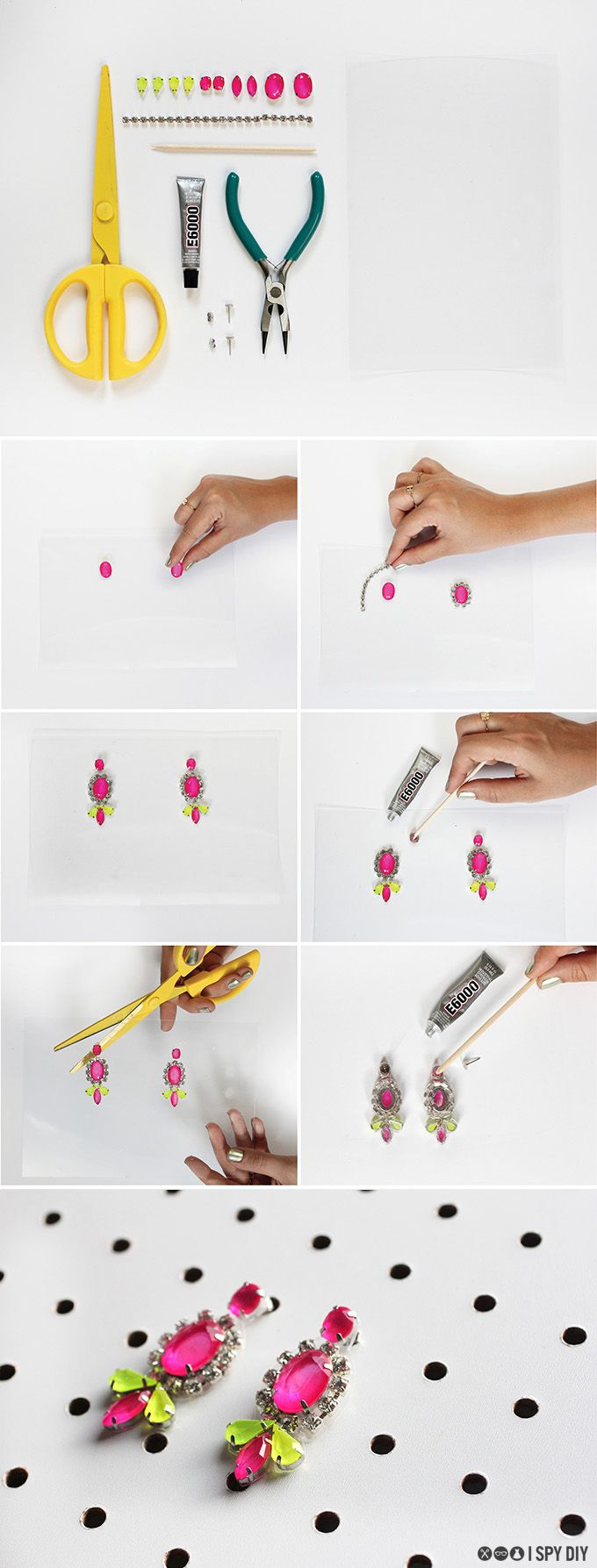 Neon Gem Earrings Tutorial, very cute, but I think they could use some tweaking. What will I come up with?