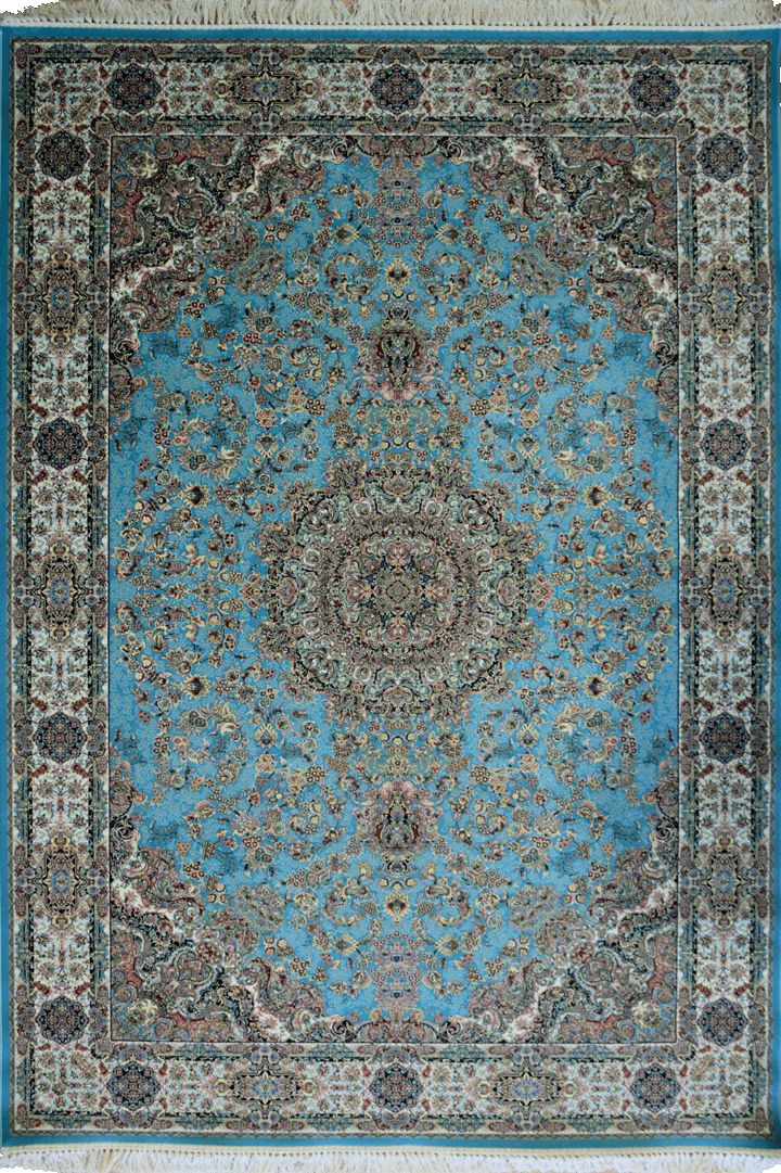 """PersicoTraditional Medallion Rugs  802001 Blue This beguiling design has us """"BLUSHING"""" with excitement.   Our Persico rug is inspired by 'Persepolis' and the rich cultural heritage of Persians. It's power loomed at 3,000,000 points per sqm (so extremely dense) with hand knotted fringes this exquisite product is the highest and finest quality woven rug we've ever had."""